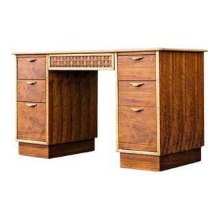 Mid-Century Modern Lane Furniture Perception Walnut Partner Desk