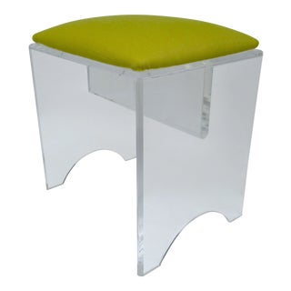 Vintage Mid-Century Lucite Bench With Sunbrella Indoor/Outdoor Textile For Sale