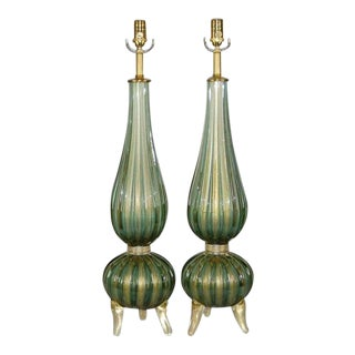 Murano Glass Three Footed Table Lamps Green Gold For Sale