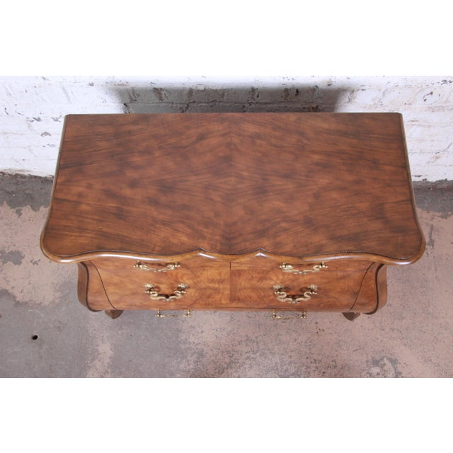 Baker Furniture Burled Walnut Bombay Chest Commode For Sale In South Bend - Image 6 of 13