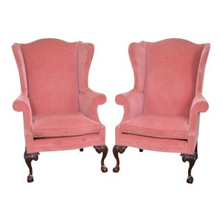 Southwood Chippendale Style Mahogany Ball & Claw Wing Chairs - A Pair