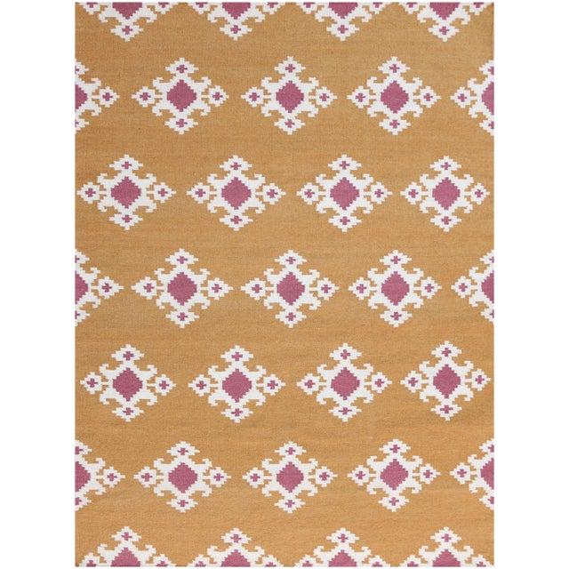 Zara Southwestern Orange Flat-Weave Rug 3'x5' For Sale - Image 4 of 4