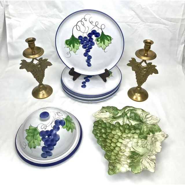 Brass Grape Cluster Candlesticks, A-Pair For Sale - Image 11 of 12