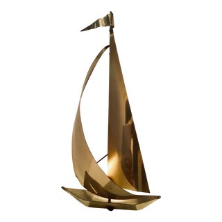 "Mid-Century Brutalist ""Sailboat on Quartz"" Signed Sculpture For Sale"