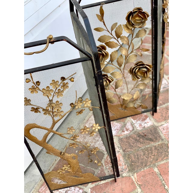 Gold Victorian Floral Fireplace Screen For Sale - Image 8 of 9