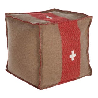 """Swiss Army Pouf, 18""""X18""""X18"""", Brown/Red For Sale"""