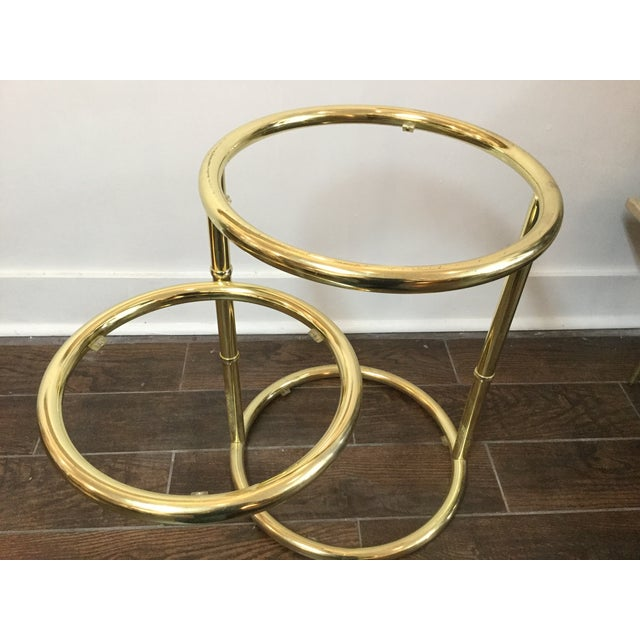 1970's Swivel Brass Side Tables - Image 11 of 11
