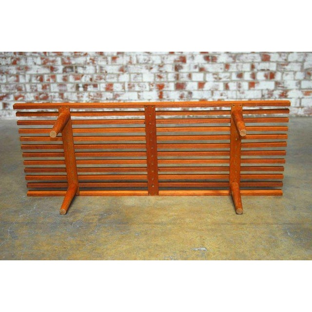 Brown Mid-Century Modern Low Slat Wood Bench Coffee Table For Sale - Image 8 of 9