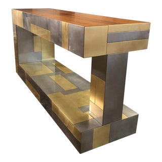 1960s Brutalist Brass Steel Coffee Table After Paul Evans For Sale
