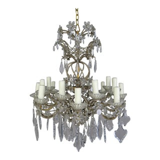 20-Light Italian Crystal Beaded Chandelier With Crystal Flowers For Sale