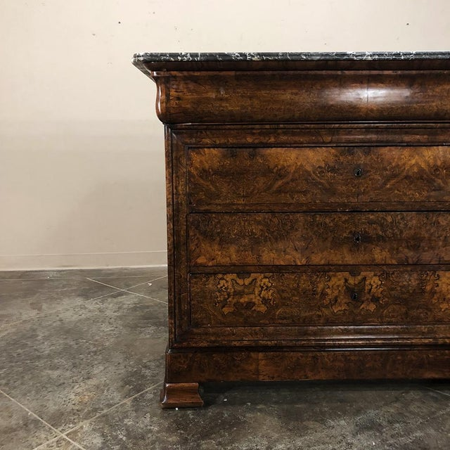 19th Century Louis Philippe Burl Walnut Marble Top Commode For Sale In Baton Rouge - Image 6 of 11
