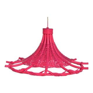Vintage Pagoda Rattan Begonia Pink Pendant For Sale