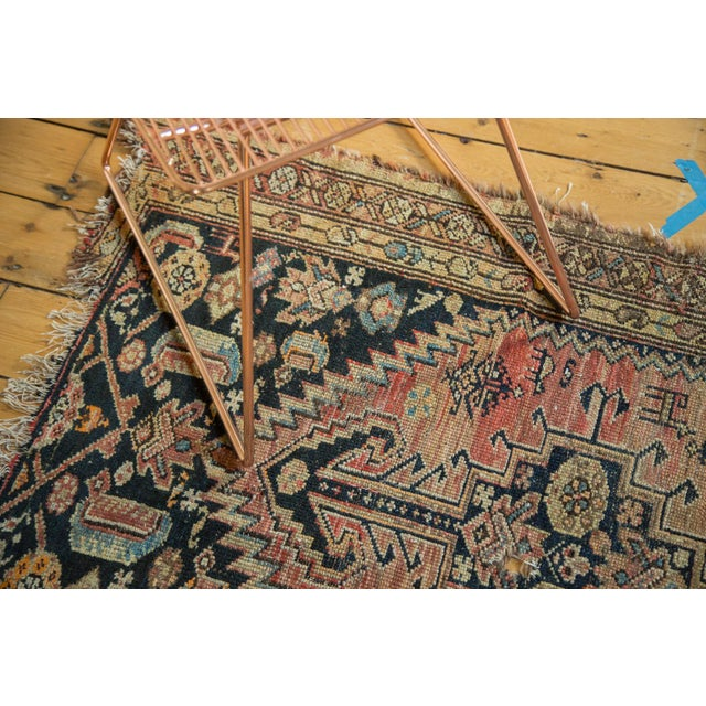 """Antique Tattered Malayer Square Rug - 3'5"""" x 4'3"""" - Image 8 of 10"""