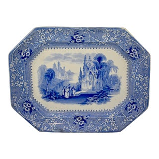19th C. Adams & Sons Blue & White Transferware 'Columbia' Platter For Sale