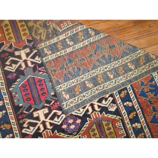 Primitive 19th Century Antique Caucasian Rug Fragment- 2'11'' x 3'5'' For Sale - Image 3 of 6