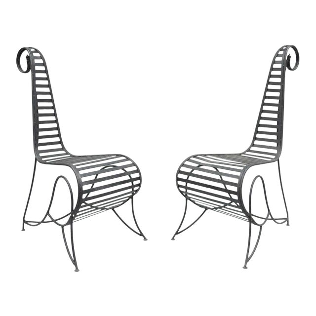 Vintage Whimsical Steel Iron Spine Lounge Chairs After André Dubreuil - A Pair For Sale