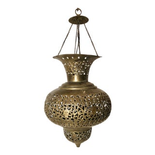Vintage Moroccan / Persian Pierced Brass Teardrop Large Lantern Pendant For Sale