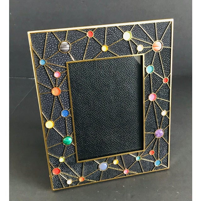 Italian Shagreen With Multi-Color Stones Photo Frame by Fabio Ltd For Sale - Image 3 of 10