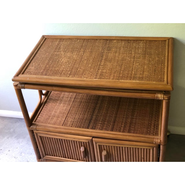 Vintage Mid-Century 1970's Bamboo Ratan Bar Cart For Sale In Tampa - Image 6 of 11