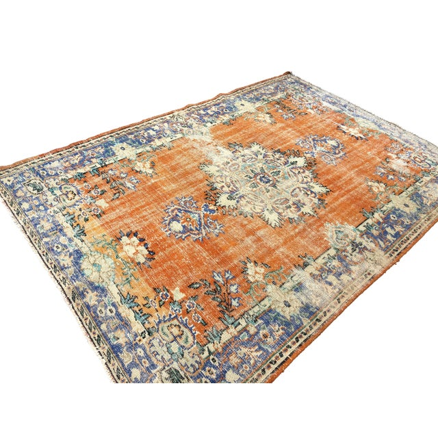 Vintage Anatolian Handmade wool Rug. One Of Kind Vintage Rug with perfect design and colours.