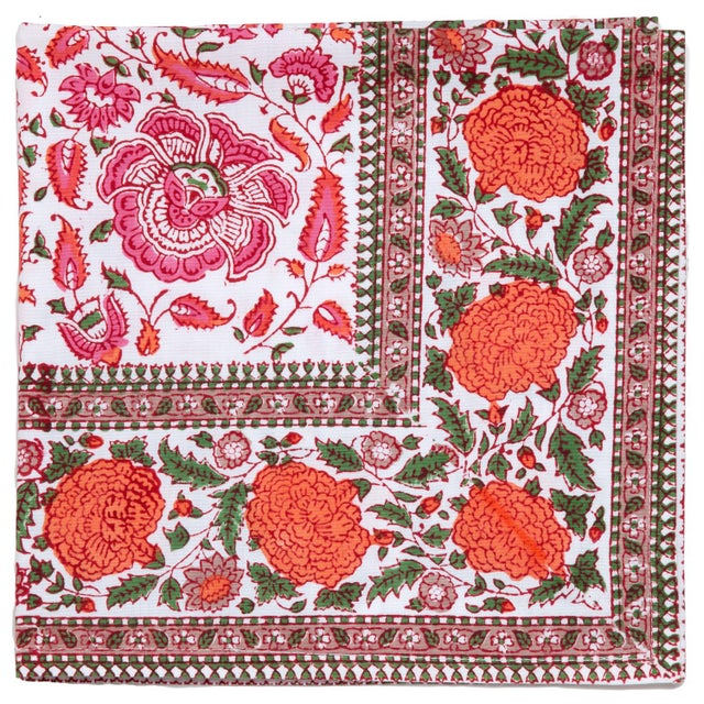 Contemporary Riyad Napkins, Pink & Orange - A Pair For Sale - Image 3 of 4