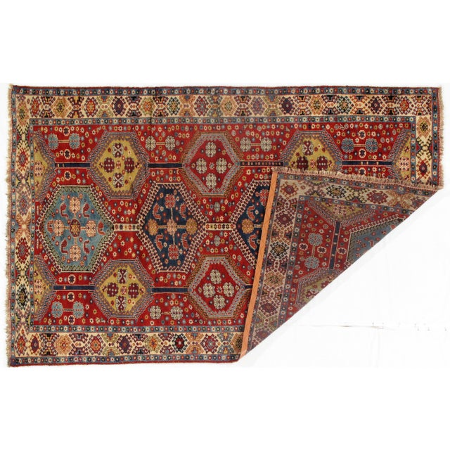 Islamic 1950's Antique Persian Yalameh Area Rug- 6′6″ × 10′2″ For Sale - Image 3 of 5