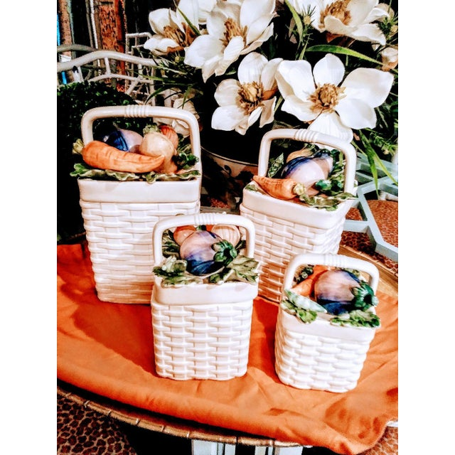 Ceramic Fitz and Floyd 4 Piece Ceramic Weave Basket Vegetable Canister Set For Sale - Image 7 of 7