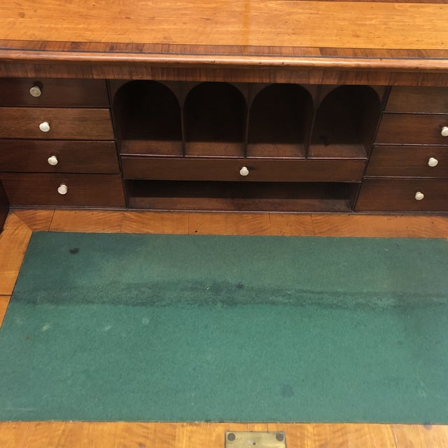 Antique 1830s English Satinwood Mahogany Butler's Desk For Sale - Image 9 of 12