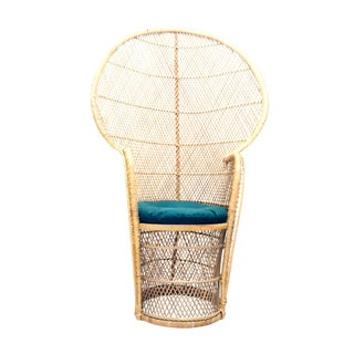 1970's Bohemian Wicker Barrel Seated High Back Peacock Chair For Sale