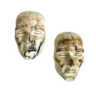 Mid-Century 1960s Plaster Cast Faces, Set of 2 For Sale