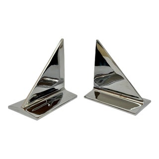 Mid-Century Abstract Modern Chrome Bookends - a Pair For Sale
