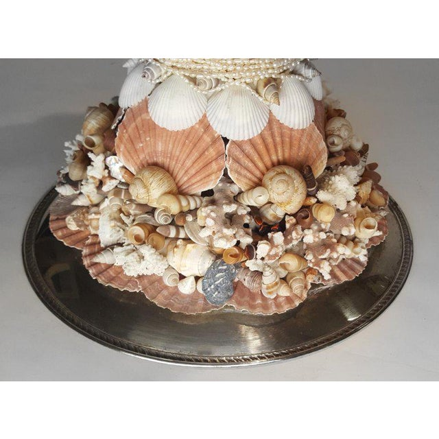 Handmade Exotic Sea Shell Encrusted Silver Plated Display Pedestal For Sale - Image 4 of 10