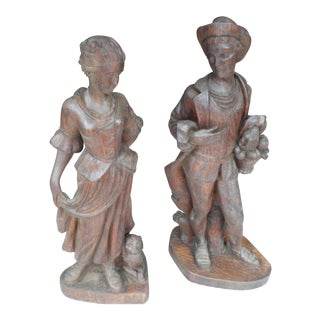 French 19th Century Carved Wooden Figures - A Pair