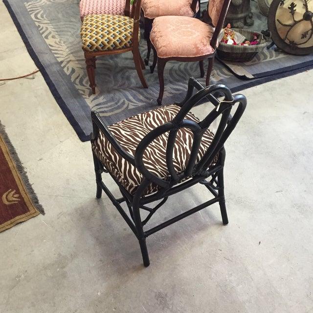 Black Rattan Zebra Pattern Fabric Chair - Image 4 of 6