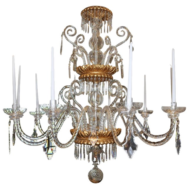 Neoclassical Glass and Gilt Italian Murano or Genoese Chandelier For Sale
