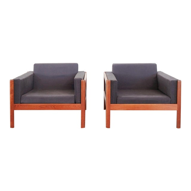 Danish Modern Upholstered Teak Chairs - a Pair For Sale