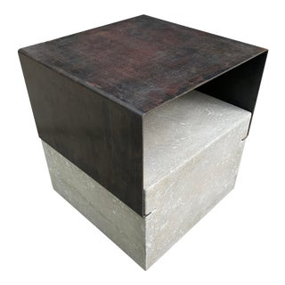 Modern Steel and Concrete Side Table For Sale