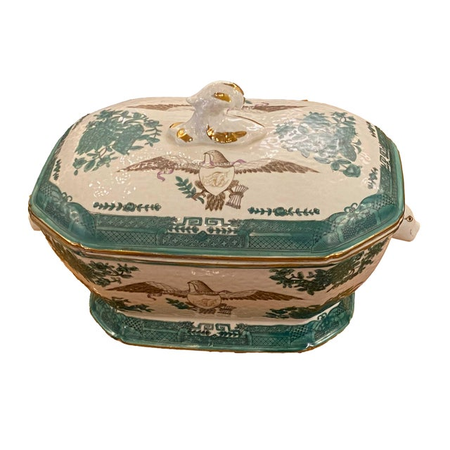 Asian Early 20th Century Green Chinese Fitzhugh Tureen and Under Plate For Sale - Image 3 of 9