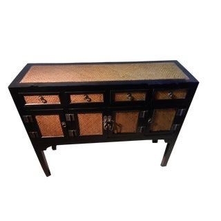 Beijing Black & Rattan Chest of Drawers For Sale