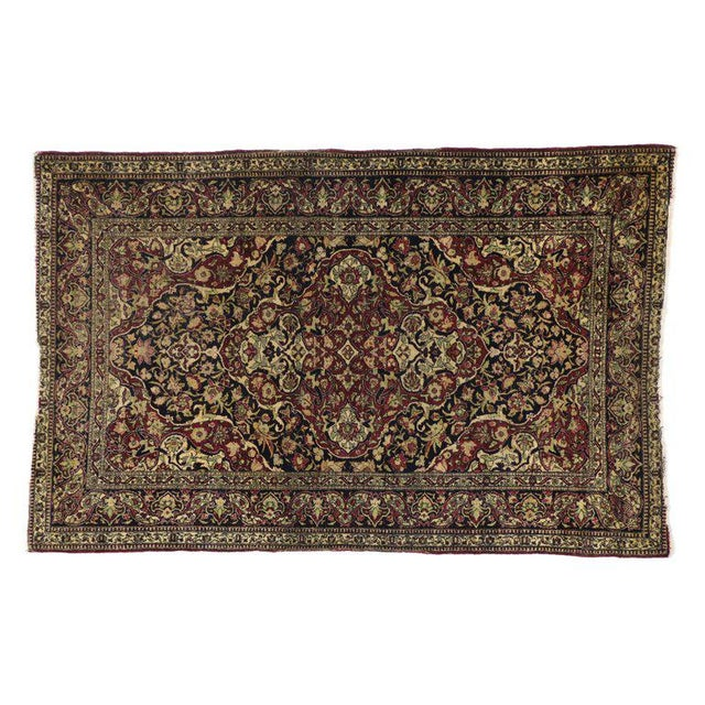 Antique Persian Kerman Rug with Traditional Style, Antique Kirman Persian Rug For Sale - Image 4 of 5