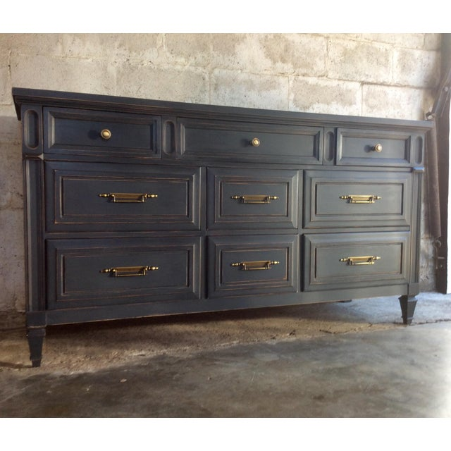 This stunning solid wood dresser, buffet, or credenza by Huntley Furniture is hand painted in Annie Sloan's Graphite and...
