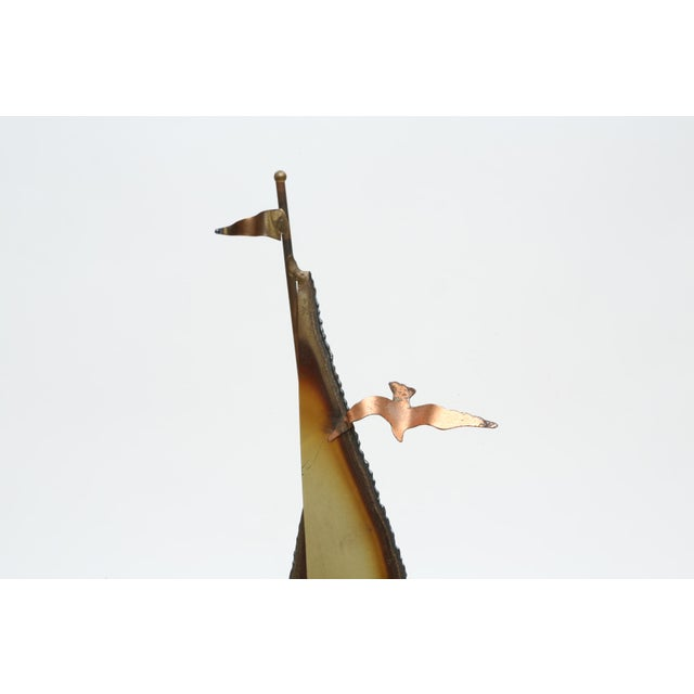 Vintage Brass Sail Boat with Marble base Figure This beautiful, torch-cut, acid-etched, brass-and-copper sailboat...