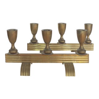 Art Deco Bronze Streamline Candle Holders - A Pair For Sale