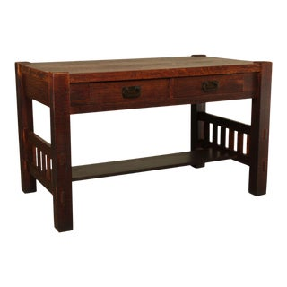 Harden Mission Style Arts and Crafts Antique 2 Drawer Library Table For Sale