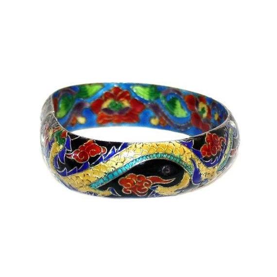 Asian Chinese Cloisonné Enamel Dragon Bangle - Chinese Bracelet - Dragon Bracelet - Vintage Chinese Jewelry - Enameled Chinese Bracelet For Sale - Image 3 of 6