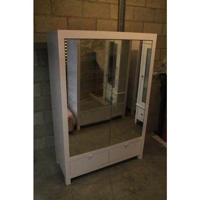 Ebbett Design & Associates White Mirrored Armoire - Image 4 of 9