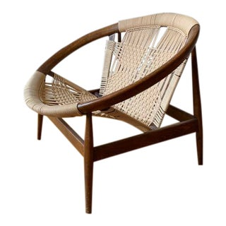 """Vintage Mid Century Illum Wikkelso """"Ringstol"""" Number 23 Teak and Woven Cord Hoop Chair For Sale"""