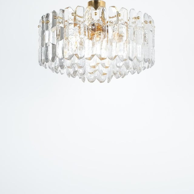 Kalmar j.t. Kalmar Palazzo Chandelier Gold Brass Glass Lamp, Austria 1960 For Sale - Image 4 of 12