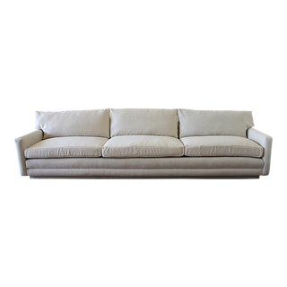 Mid Century Modern Natural Linen Blend Herringbone Sofa For Sale