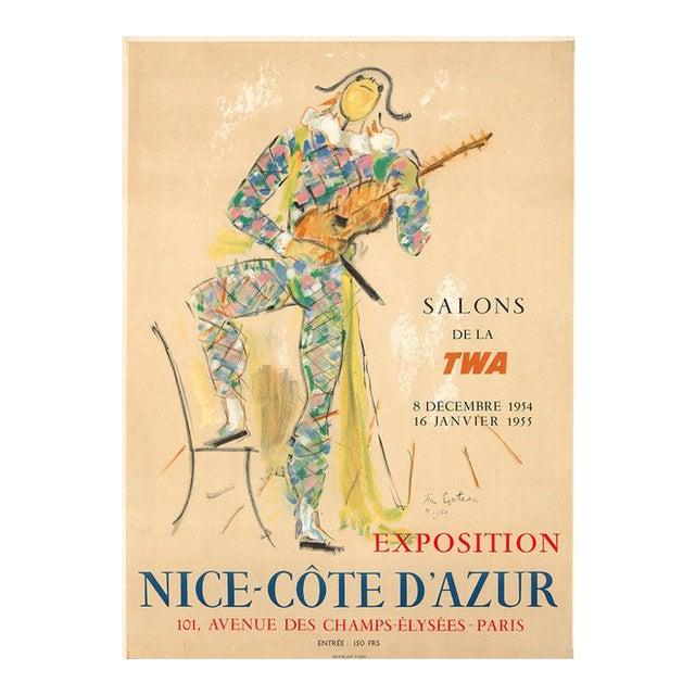 1954 Original French Vintage Poster, Salons De La Twa - Jean Cocteau For Sale